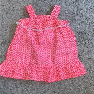 Infants 6-9M Pink and white chevron design dress